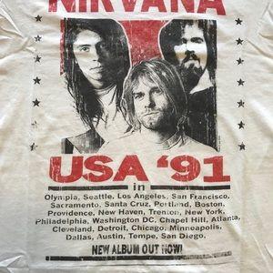 854bfa92 H&M Shirts | Nirvana 91 Tour T Nwt Smlxl 2018 Release | Poshmark